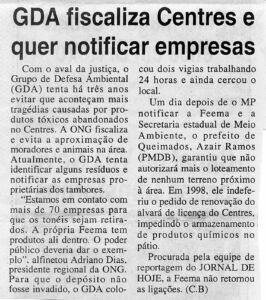 Reportagem - CENTRES O Globo Baixada 07 06 2002 - 1 Acervo Adriano Dias ComCausa